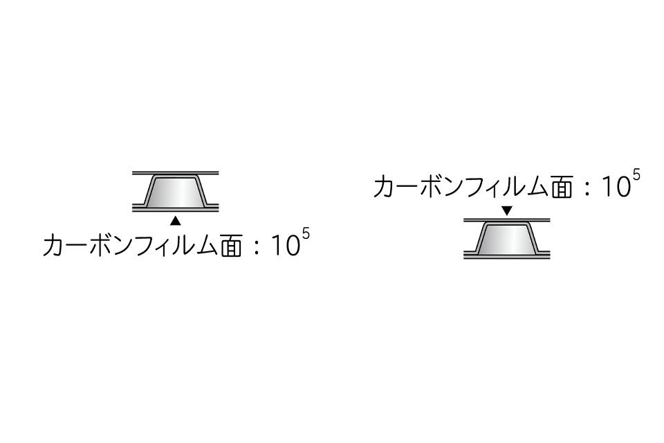 導電プチブラック(カーボンフィルム面:10<sup>5</sup>×カーボンフィルム面:10<sup>5</sup>)